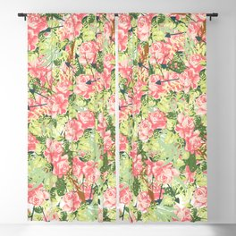 Botanical pink white green roses feathers floral pattern Blackout Curtain