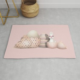 Kawaii Easter Bunny hatching from Golden Colored Easter Eggs - pink background Rug
