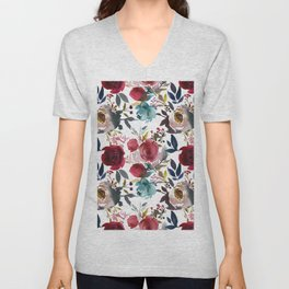 Hand painted burgundy coral teal watercolor botanical roses Unisex V-Neck