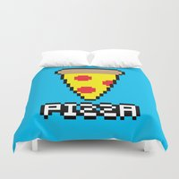 8 bit Duvet Covers featuring 8-Bit Pizza by Katie White