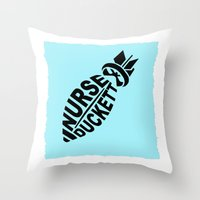 nurse Throw Pillows featuring NURSE DUCKETT by 3SCOOPS