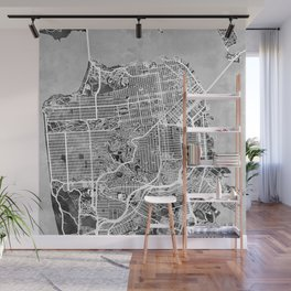 San Francisco City Street Map Wall Mural
