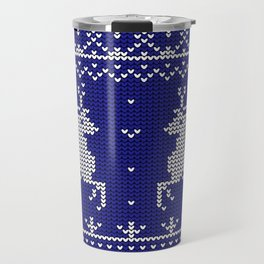 Blue Christmas Wool Pattern Travel Mug