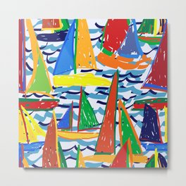 Painterly Sailboat Regatta in Primary Metal Print
