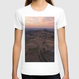 emilia romana campagnolo italy farming drone aerial view shot road T-shirt