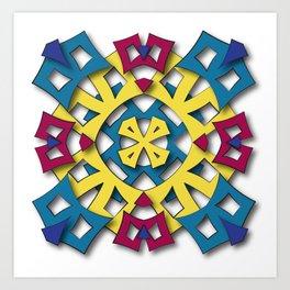 abstract aztec sun Art Print
