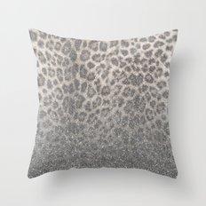 Shimmer (Snow Leopard Glitter Abstract) Throw Pillow