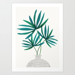 Fan Palm Fronds / Tropical Plant Illustration Art Print