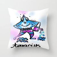 aquarius Throw Pillows featuring Aquarius  by sladja
