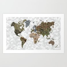 CAMO WORLD ATLAS MAP (WHITE) Art Print