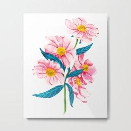 Pink Floral || Metal Print