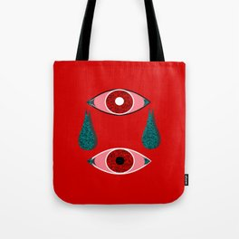 2 Eyes Red Tote Bag