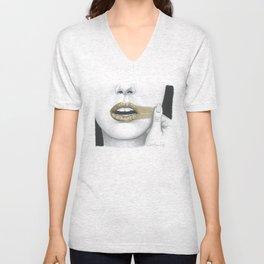 Dissenso / Dissent - Gold Lipstick  Unisex V-Neck