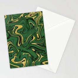 Luxury Marble Pattern in Emerald, Gold, Green and Copper Stationery Cards