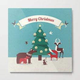 Christmas Animals and Christmas Tree Metal Print
