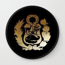 Peru Golden Shield Wall Clock