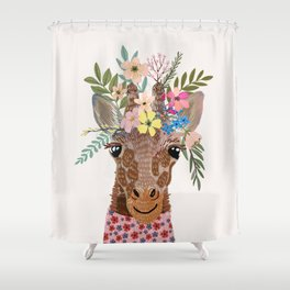 Giraffe with flowers on head Shower Curtain