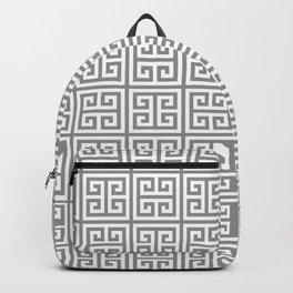 Greek Key pattern - Greek fret design , grey, white Backpack