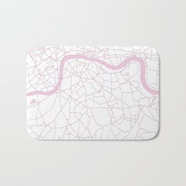 London White on Pink Street Map Bath Mat