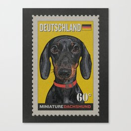 Dachshund Art Poster Postage Stamp Series by Artist A.Ramos. Designed in Bold Colors. Canvas Print