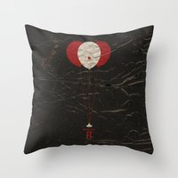 pennywise Throw Pillows featuring Pennywise the Clown - Stephen King's IT Inspired vintage movie poster by Dan Howard