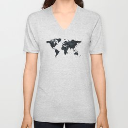 World Map in Black and White Ink on Paper Unisex V-Neck