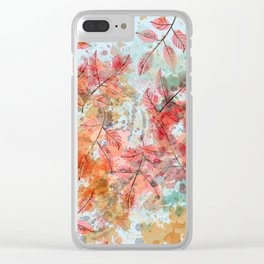 Watercolor autum foliage on blue Clear iPhone Case