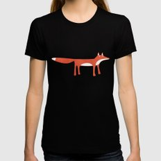 Mr Fox Black SMALL Womens Fitted Tee