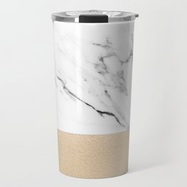 White Marble with Black and Copper Bronze Travel Mug
