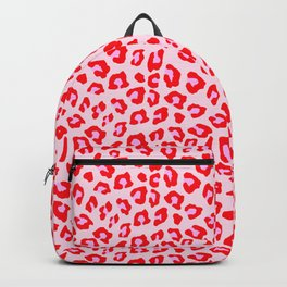 Leopard Print - Red And Pink Backpack