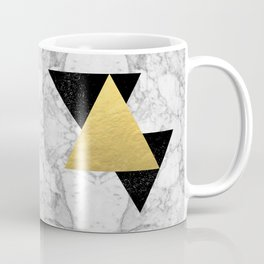 Marble Tri Black & Gold - gold foil, gold, marble, black and white, trendy, luxe, gold phone Coffee Mug