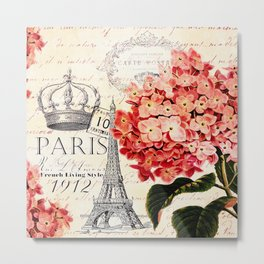 Paris and Hydrangea Metal Print