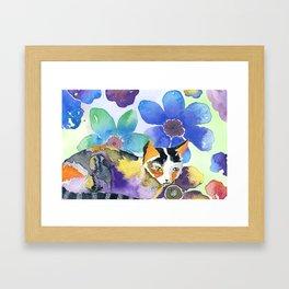 Calico & Flowers Framed Art Print