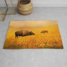Bison Dad and Baby in Sunflowers Rug