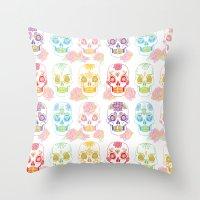 sugar skulls Throw Pillows featuring Sugar Skulls by Bird & Bow Studios
