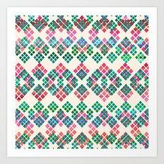 Green Red Geo Pattern Art Print