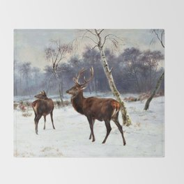 Deer And Doe In A Snowy Landscape - Digital Remastered Edition Throw Blanket