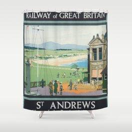 St. Andrews Vintage Golf Poster Shower Curtain