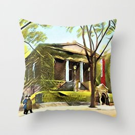 Providence Athenæum Library Benefit Street Landscape Painting by Jeanpaul Ferro Throw Pillow