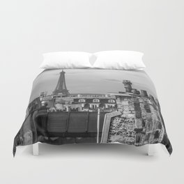 Eiffel Tower and Rooftops Black and White Duvet Cover