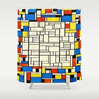 mondrian Shower Curtains featuring Mondrian by PureVintageLove