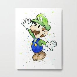 Luigi Watercolor Mario Nintendo Art Metal Print