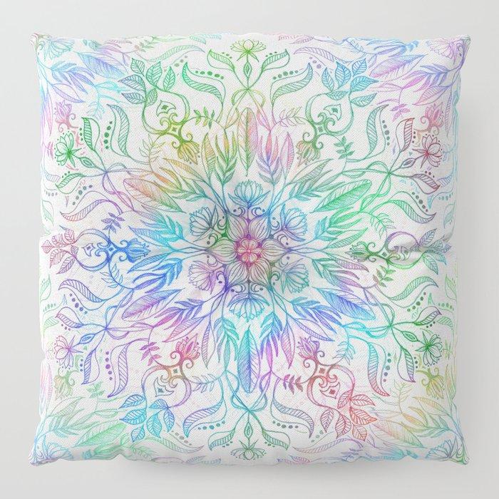 Nature Mandala in Rainbow Hues Floor Pillow