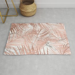 Tropical modern faux rose gold palm tree leaf white marble pattern Rug