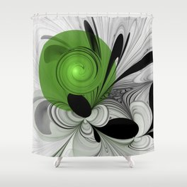 Abstract Black and White with Green Shower Curtain
