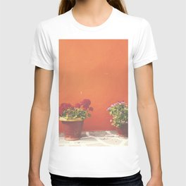Orange wall and flowers T-shirt