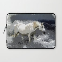 """AT ONE WITH THE SEA""  White Horse In the Surf Laptop Sleeve"