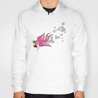 swallow Hoodies featuring Pink Swallow by Jelly Roger