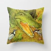crocodile Throw Pillows featuring Crocodile by Natalie Berman