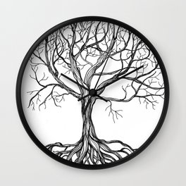 Bare tree with root Wall Clock